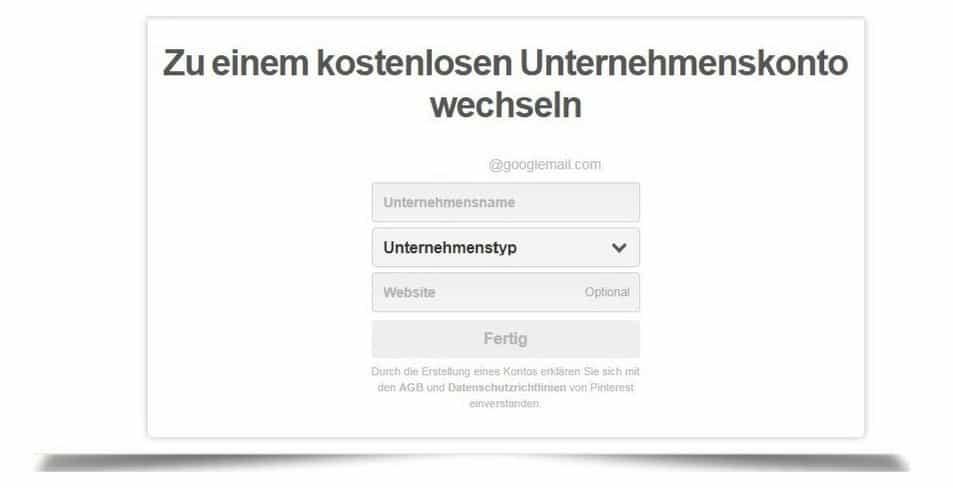 Pinterest Profil in ein Unternehmensprofil umwandeln